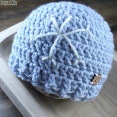 Winter Snowflake Beanie is sizes newborn to child - matching doll version too! Newborn Crochet Patterns, Crochet Kids Hats, Crochet Beanie, Free Crochet, Knitted Hats, Chrochet, Hat Patterns, Baby Hats, Crochet Projects