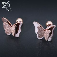 2017 New Butterfly Earrings Rose Gold Color Stainless Steel Stud Earrings for Women Child Frosted Butterfly Cartilage Ear Studs - amalia Jewelry Design Earrings, Gold Earrings Designs, Ear Jewelry, Cute Jewelry, Fashion Earrings, Fashion Jewelry, Jewelry Accessories, Butterfly Earrings, Rose Gold Earrings