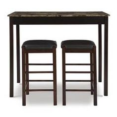 Charlton Home® Rea 3 Piece Dining Set & Reviews | Wayfair Solid Wood Dining Set, 3 Piece Dining Set, Wood Table Bases, Pub Table Sets, Counter Height Dining Sets, Table Seating, Living Room Sets, Upholstered Chairs, Dining Furniture