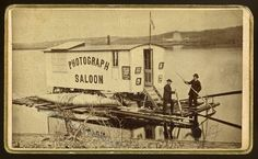 McLeon's, St. Johns. W. A. McOers, operator.  Photograph Saloon on raft  n.d. Carte de visite  Private collection of Laddy Kite