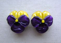 RESERVED for Karen lampwork pansy beads by Inna Kirkevich on Etsy