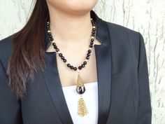 Black Onyx Necklace Onyx Gold Necklace  Black by sevinchjewelry, $68.00