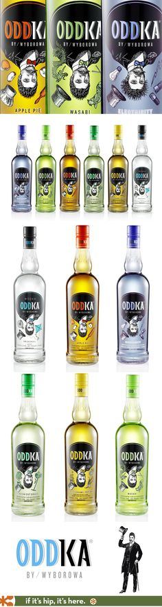 Oddka Vodka in amazing flavors with equally beautiful graphics on the bottles.