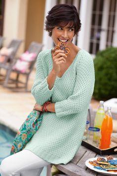 Bar Harbor Sweater - Womens Nautical Sweater, Ladies Pullover Sweater, 3/4 Sleeve Sweater   Soft Surroundings