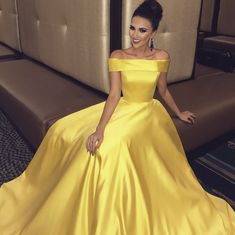 2018 yellow long prom dresses, elegant off the shoulder yellow long prom dresses, yellow long evening dresses graduation dresses