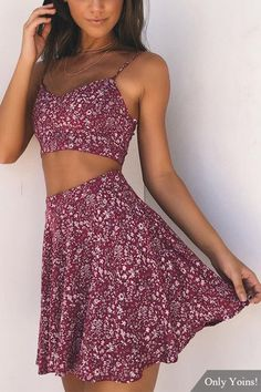 Red Random Floral Print Crop Top & Mini Skirt Two Piece Outfits from mobile - US$13.95 -YOINS