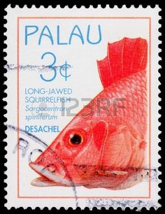 The long-jawed squirrelfish, Sargocentron spiniferum,  3-cent stamp printed in…