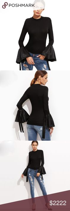 """🆕 Black Satin Bell Sleeve Stretch Top D19 ‼️ PRICE FIRM UNLESS BUNDLED WITH OTHER ITEMS FROM MY CLOSET ‼️   LOVE LOVE this top!  Absolutely gorgeous silky bell sleeve which gives it such a dramatic look!  There is a significant amount of stretch to this top for a perfect & comfortable fit. 95% cotton, 5% spandex.  XS Bust up to 35"""" Shoulder 18"""" Sleeve 25"""" Length 25""""  SMALL Bust up to 36"""" Shoulder 19"""" Sleeve 25"""" Length 25""""  MEDIUM Bust up to 39"""" Shoulder 19"""" Sleeve 26"""" Length 25""""  LARGE Bust…"""