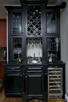 Timberland Cabinetry Company in Spring Hill, TN offers high-quality kitchen cabinets at affordable prices. We work with local clients and nationwide dealers, providing beautiful, functional cabinetry. Black Distressed Cabinets, Black Cabinets, Black Bar Cabinet, Black Hutch, Wine Cabinets, Kitchen Cabinets, Built In Microwave Cabinet, Mini Bar, Cabinet Inspiration