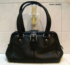 Ending in 1  hour - selling for 99 cents - TALBOTS A-Frame Black Leather Handbag - Great Condition! #TALBOTS #casual