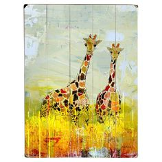 Create a charming focal point in the living room or accent your gallery wall with this planked wood decor, featuring a delightful giraffe motif....
