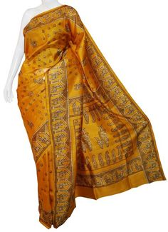 Golden Terracota Bishnupuri Silk Saree with Blouse
