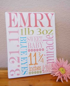 Baby birth announcement...to use up my blank canvases.