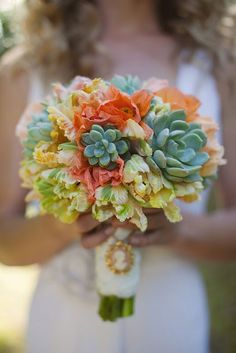 Interesting flower arrangement - lovely bouquet of peach parrot tulips, blus and coral poppies, minty green succulents! LOVE THE SUCCULENTS Rustic Bridal Bouquets, Wedding Bouquets, Wedding Flowers, Wedding Colors, Rustic Bouquet, Bridesmaid Bouquet, Wedding Bridesmaids, Bouquet Succulent, Tulip Bouquet