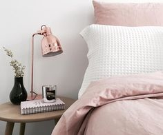 @stylingbytiffany on Instagram: bedroom bed pink rose gold lamp waffle bed cover cushion pillow home decor candle