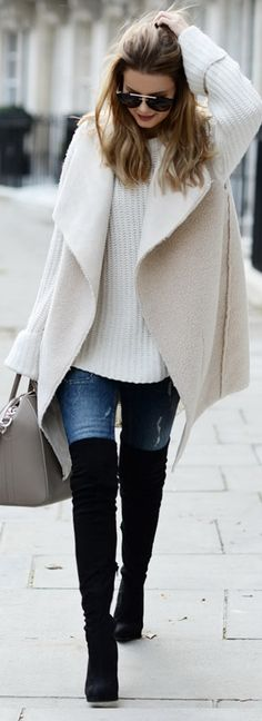 Fashion Trends Daily - 32 Great Winter Outfits On The Street 2016 - Vest: By Lene Orvik // Jumper: One Teaspoon // Jeans: Gina Tricot Bag: Givenchy // Over knee-boots: Asos // Sunglasses: Prada: Look Fashion, Fashion Outfits, Street Fashion, Womens Fashion, Fashion Trends, Fall Fashion, Fashion 2017, Fashion Clothes, Runway Fashion