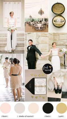 city wedding | neutral and black with hint of blush wedding colours palette
