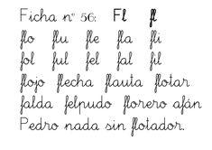 Ficha nº 56: Fl fl  flo flu fle fla fli  fol ful fel fal fil  flojo flecha flauta flotar  falda felpudo florero afán  Pedro nad...