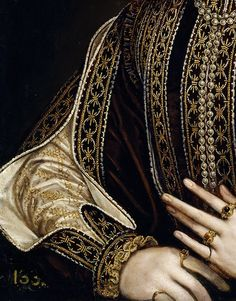 """""""A Lady with a Fan"""" (1570-1573) (detail) by Alonso Sánchez Coello (c. 1531-1588)."""