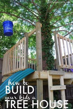Build a Tree House - A small space didn't keep us from building a tree house! See how we made the most of our yard to create a tree house filled with everything…