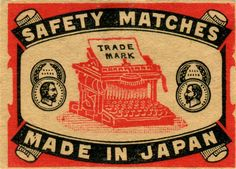 vintage typewriter Japan matchbox cover  Link to blog post with lovely selection…
