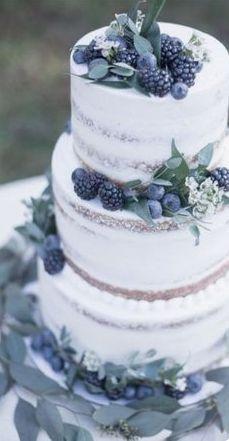 Dream Wedding Cake! Rustic white with dark berries.