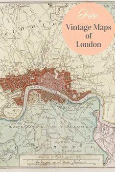 World Travel Nursery Boy Rooms Printer Crafts Website Old Maps Of London, London Map, Vintage London, London City, Antique Maps, Vintage World Maps, Vintage Map Decor, Map Crafts, Printable Maps