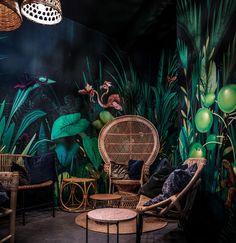 Bar Palmier Interior Design by Xavier Segers – Fubiz Media – Living Art – … – Kids Room 2020 Tropical Interior, Bohemian Interior, Office Interior Design, Office Interiors, Illustration Jungle, Cafe Design, House Design, Interiores Art Deco, Deco Jungle