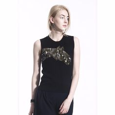 COLE COOL Women's Sequin Embroidery Black Jersey Tank Top #COLECOOL #CropTop #Casual
