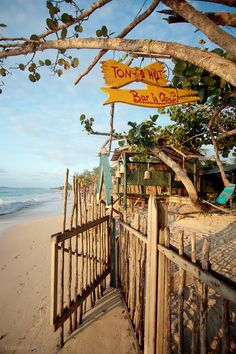 On the Beach in Negril, Jamaica - Tony's Hut