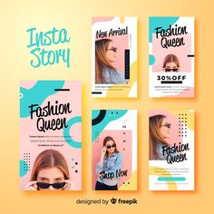 Fashion sale banner collection with photo Vector Instagram Design, Instagram Feed Layout, Instagram Story Template, Social Media Banner, Social Media Template, Social Media Design, Creative Instagram Stories, Instagram Story Ideas, Graphic Design Layouts