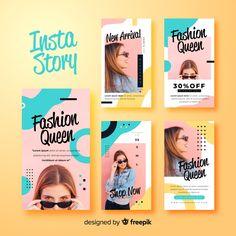 Fashion sale banner collection with photo Vector Web Banner Design, Web Design, Graphic Design Layouts, Graphic Design Posters, Book Design, Graphic Design Projects, Instagram Design, Poster Layout, Creative Instagram Stories
