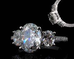 ALISON  1.80ct oval cut diamond  2 x 0.60ct ovals cut diamonds  micropave set brilliant cut diamonds in band  ryder diamonds, custom made diamond jewellery, hong kong