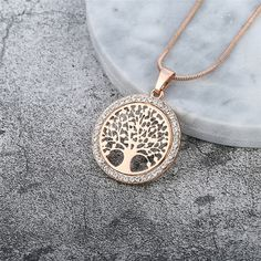Bodyslam Hot Tree of Life Crystal Round Small Pendant Necklace Gold Silver Colors Bijoux Collier Elegant Women Jewelry Gifts * Click image for more details. (This is an affiliate link) Gold Plated Necklace, Gold Pendant Necklace, Metal Necklaces, Crystal Pendant, Crystal Necklace, Round Pendant, Necklace Charm, Crystal Tree, Small Necklace