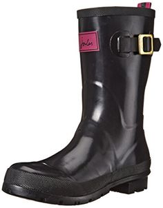 Joules Women's Kelly Welly Gloss Rain Boot, Black, 9 M US * Find out more about the great product at the image link.