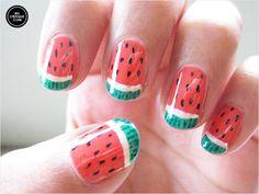 Watermelon Nail Art.. Don't take a bit! http://www.ivillage.com/nail-art-designs-food-nail-art/5-a-542346