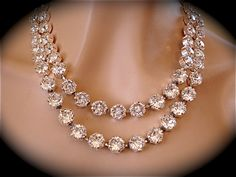 Double Strand Necklace, wedding necklace, bridal necklace, statement necklace