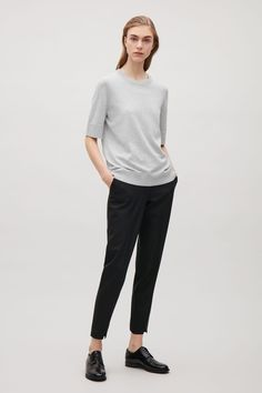 COS image 12 of Silk-cotton round-neck top in Light Grey