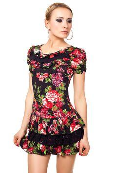 Floral Design Sommer Minikleid mit Rüschen