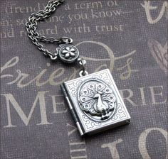Silver Book Locket Necklace- Enchanted Royal Peacock - By TheEnchantedLocket