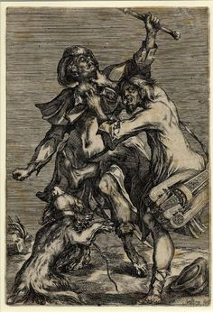 Hurdy-gurdy player attacking a pilgrim (c.1614)