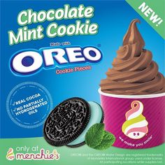 NEW FLAVOR ALERT!  Don't wait!  Hurry in and try our Chocolate Mint Cookie made with Oreos!  #menchieskennesaw #mintOreos #yummy #froyo