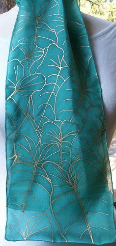 Silk Scarf Handpainted. Teal Hand Dyed Silk Scarf. Handmade Silk Scarf ANTHIRIUM LEAVES. Rectangular 8x54. Birthday Gift.