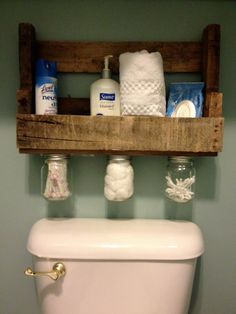 Handmade Wood Shelf with Mason Jars.  just make flat shelf for bathroom under mirror?