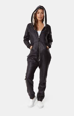 We love the bomber look, but hate how leather bomber jackets feel so stiff and heavy on our shoulders. That's why we created the Soft Bomber Jumpsuit in supersoft lightweight cotton. Be soft and fly high. Leather Jumpsuit, Black Jumpsuit, Leather Jackets For Sale, Jackets For Women, Black Jackets, Celebrity Outfits, Looks Style, Look Cool, Jumpsuits For Women