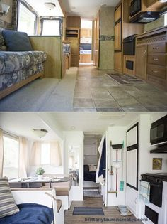 rv remodel before and after rv redo ~ rv remodel before and after Rv Interior Remodel, Camper Renovation, Van Interior, Camper Interior, Happy Campers, Rv Redo, Rv Homes, Travel Trailer Remodel, Diy Camper