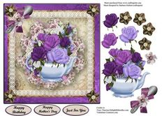 Just For You Tea Time Card Topper Decoupage on Craftsuprint - Add To Basket!