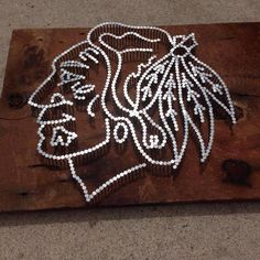 Blackhawks fan but I love Native American things.Check out this logo made out of nails! Hockey Crafts, Hockey Decor, Blackhawks Hockey, Chicago Blackhawks, Hockey Bedroom, Ultimate Man Cave, Man Cave Home Bar, String Art, Wood Art