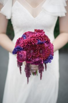 Dahlias, celosia & roses in my wedding bouquet. Flowers by Laura Remmert, photo by MGB Photo. -Kimmay