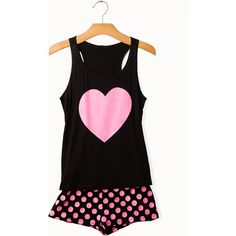 Hearts & Dots PJ Set ($13) ❤ liked on Polyvore featuring intimates, sleepwear, pajamas, pijamas, tops, polka dot pajama set, polka dot pajamas, forever 21, heart pajamas and polka dot sleepwear